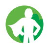 icon of person in a cape standing proud